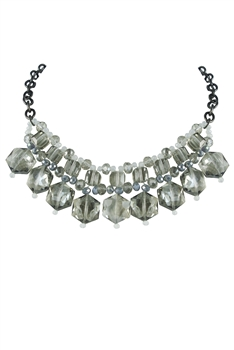 Woman Shiny Crystal Grey Necklaces  N2124
