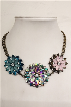 Three Flower Crystal Necklace N2129
