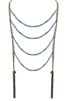 Woman Green Blue Crystal Chain Necklaces N2163 - Blue