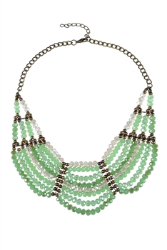 Multi-layer Crystal Necklaces N2166 - Green