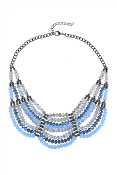 Multi-layer Crystal Necklaces N2166 - Blue