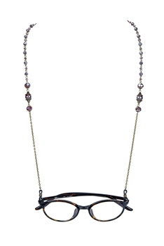Fashion Crystals Glasses Spectacles Necklace N2186 - Purple