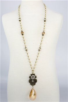 Dangle Crystal Metal Pearl Necklaces N2233