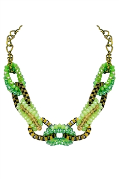 Interlocking Crystal Necklace N2252 - Green