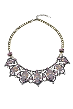 Crystal Pendant Necklace N2270 - Pink