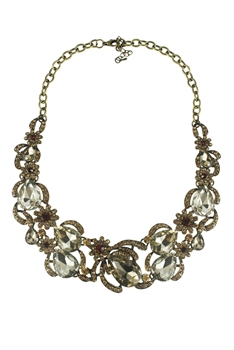 Vintage Chain Sparkly Crystal Collar Necklace N2273