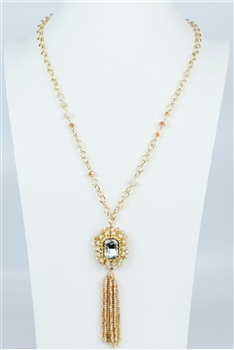 Crystal Long Tassel Necklace N2278