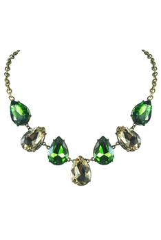 Shiny Crystal Party Necklaces N2280 - Green