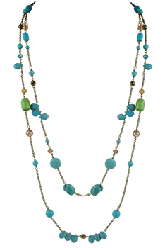 Turquoise Crystal Long Necklaces N2292