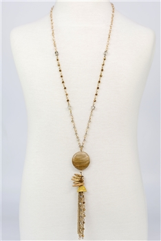 Crystal Long Chain Tassel Necklace N2294