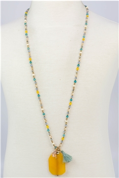 Crystal Bead Natural Stone Pendant Necklaces N2295