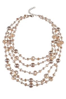 Multi-layer Crystal Short Necklaces N2298 - Champagne