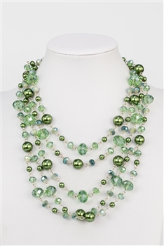 Multi-layer Crystal Short Necklaces N2298 - Green