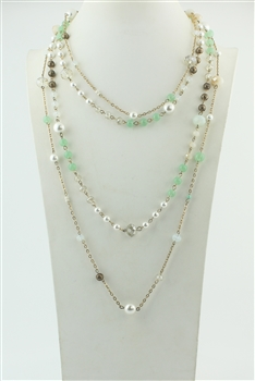Multi-layer Long Crystal Pearl Necklace N2299
