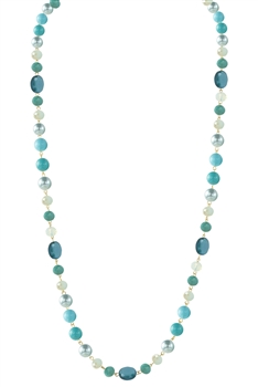 Crystal Pearl Necklace N2307 - Blue