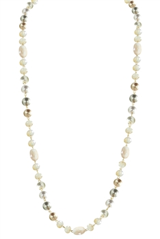 Crystal Pearl Necklace N2307 - Champagne