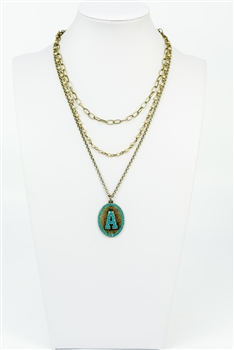 Chain Metal Alphabet Necklace N2312 - A