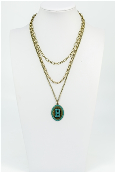 Chain Metal Alphabet Necklace N2312 - B