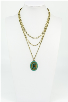 Chain Metal Alphabet Necklace N2312 - C