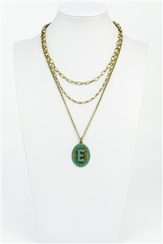 Chain Metal Alphabet Necklace N2312 - E