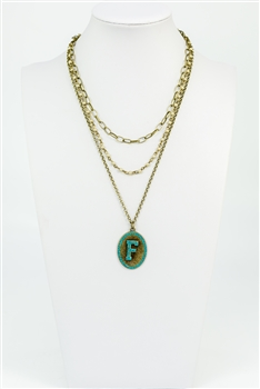 Chain Metal Alphabet Necklace N2312 - F