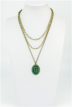 Chain Metal Alphabet Necklace N2312 - G
