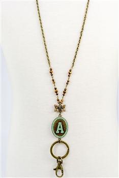 Crystal Chain Metal Alphabet Necklace N2313 - A