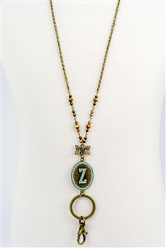 Crystal Chain Metal Alphabet Lanyard N2313 - Z
