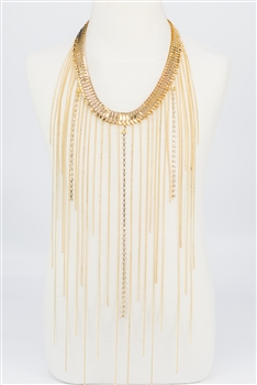Chain Long Tassel Necklace N2323 - Champagne