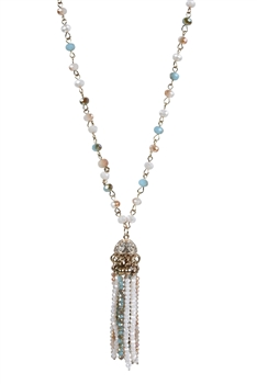 Crystal Pendant Tassel Long Necklace N2332
