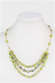 Three-layer Crystal Necklace N2356 - Green