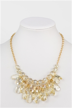 Big Crystal Necklace N2357 - Champagne