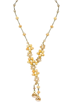 Crystal Beaded Tassel Necklace N2363 - Champagne