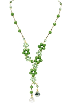 Crystal Beaded Tassel Necklace N2363 - Green