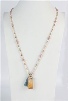 Natural Stone Pendant Long Crystal Necklace N2370