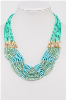 Crystal Beaded Colorful Necklace N2376 - Blue