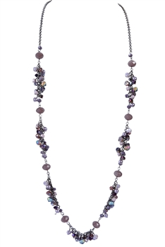 Fashion Charm Crystal Long Necklaces N2394 - Purple