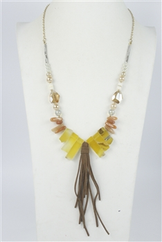 Leatherette Natural Stone Necklace N2396 - Champagne