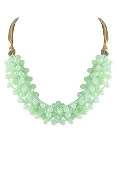 Crystal Beaded Leatherette Necklaces N2428 - Green