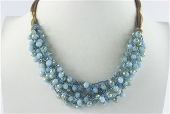 Crystal Beaded Leatherette Necklaces N2428 - Blue