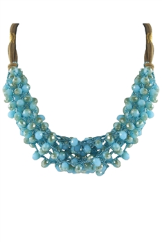 Crystal Beaded Leatherette Necklaces N2428