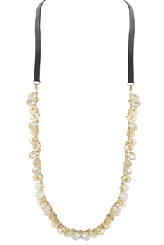 Crystal Leather Necklaces N2429 - Champagne