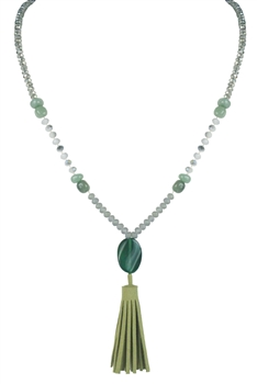 Green Beads  Stone Tassel Necklace N2451