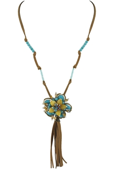 Big Flower Leather Tassel Necklace N2453