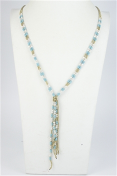 Crystal Bead Long Tassel Necklaces N2456 - Blue