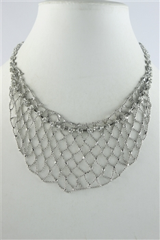 Mesh Crystal Necklace N2497 - Silver