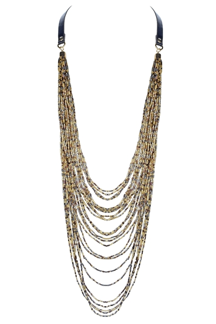 Long Multi-layer Crystal Beaded Necklace N2526