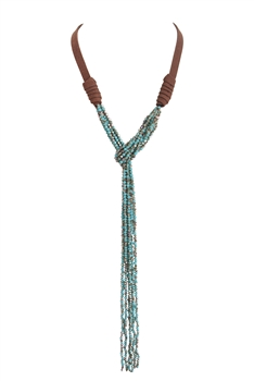 Crystal Bead Leatherette Long Tassel Necklaces N2534 - Blue