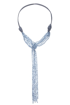 Crystal Bead Leatherette Long Tassel Necklaces N2534 - Grey