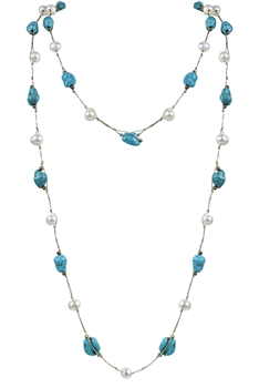 Elegant Turquoise Stone Pearls Long Necklaces N2535